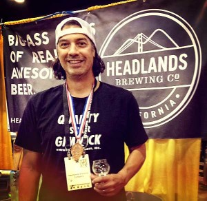 Headlands brewer Phil Cutti shows off the bronze.
